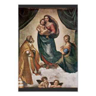 Mary With Christ Child St. Pope Sixtus Ii And St. Poster