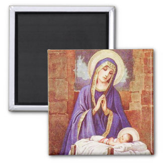 Mary With Jesus in Manger Vintage Magnet