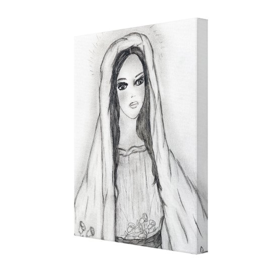 Mary with Roses Canvas Print