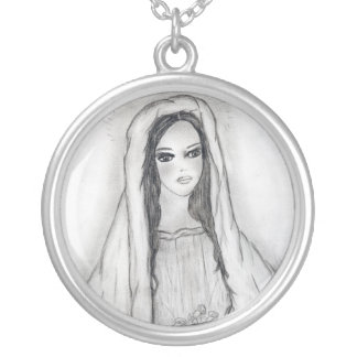 Mary with Roses Round Pendant Necklace