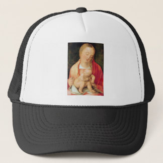 Mary with the child squatting trucker hat