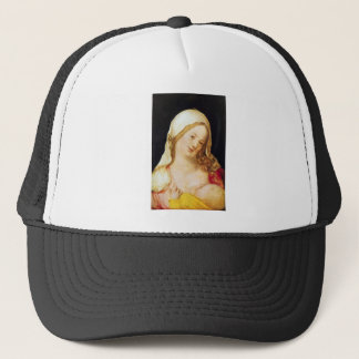 Mary with the child trucker hat