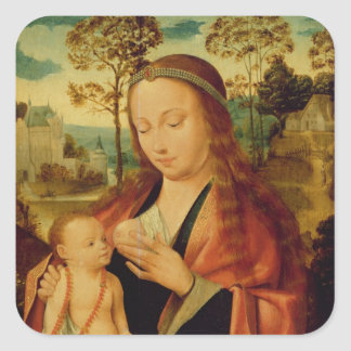 Mary with the Christ Child, early 16th century Square Sticker