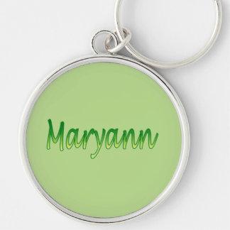 Maryann Silvery Round Keychain over Green