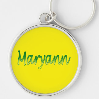Maryann Silvery Round Keychain over Yellow