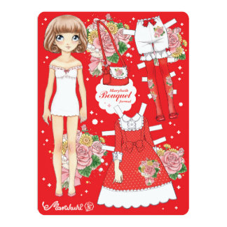 Marybeth paperdoll - Bouquet formal (red) Card