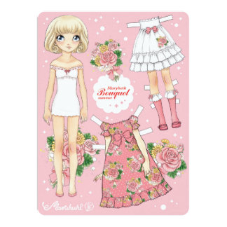 Marybeth paperdoll - Bouquet summer (pink) Card