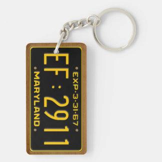 Maryland 1967 Vintage License Plate Keychain Rectangle Acrylic Key Chain