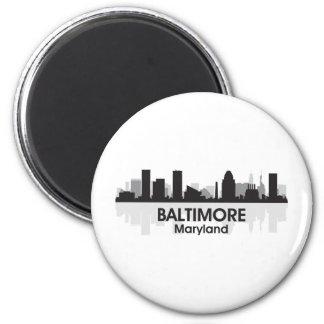 Maryland Baltimore Skyline 2 Inch Round Magnet