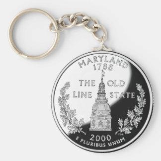 Maryland Basic Round Button Keychain