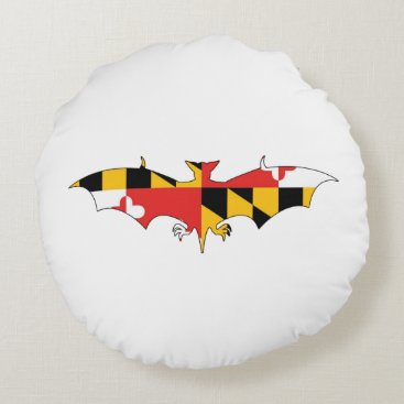 USA Themed Maryland Bat Round Pillow