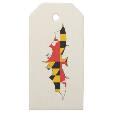 USA Themed Maryland Bat Wooden Gift Tags