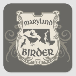 Square Sticker with Maryland Birder design