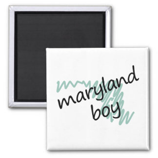 Maryland Boy on Child's Maryland Map Drawing 2 Inch Square Magnet
