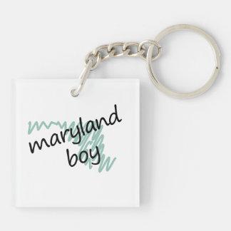 Maryland Boy on Child's Maryland Map Drawing Double-Sided Square Acrylic Keychain