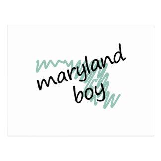 Maryland Boy on Child's Maryland Map Drawing Postcard
