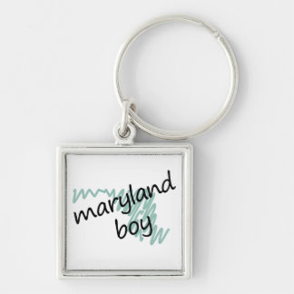 Maryland Boy on Child's Maryland Map Drawing Silver-Colored Square Keychain
