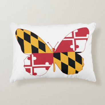 USA Themed Maryland Butterfly Accent Pillow