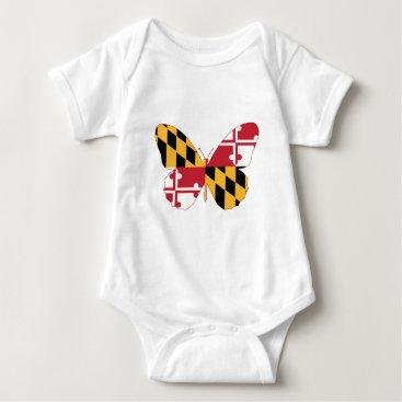 USA Themed Maryland Butterfly Baby Bodysuit