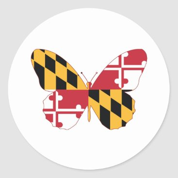 USA Themed Maryland Butterfly Classic Round Sticker