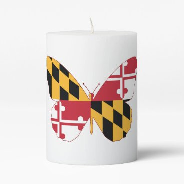 USA Themed Maryland Butterfly Pillar Candle