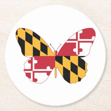 USA Themed Maryland Butterfly Round Paper Coaster