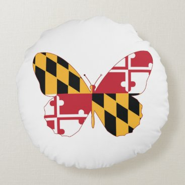 USA Themed Maryland Butterfly Round Pillow