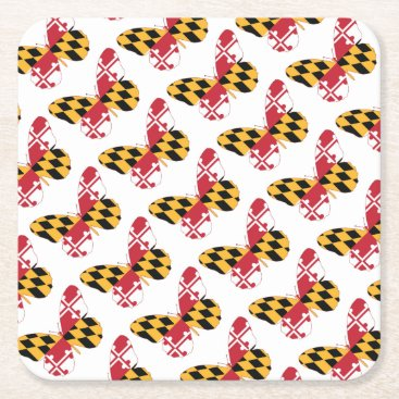 USA Themed Maryland Butterfly Square Paper Coaster