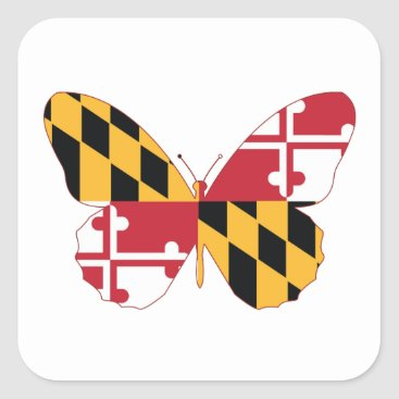 USA Themed Maryland Butterfly Square Sticker