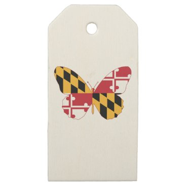 USA Themed Maryland Butterfly Wooden Gift Tags