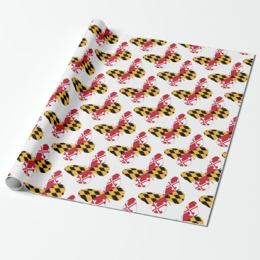 USA Themed Maryland Butterfly Wrapping Paper