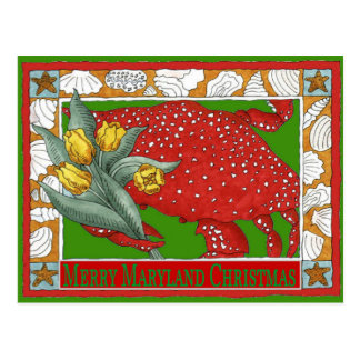 Maryland Christmas Crab Postcard