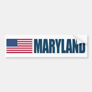 Maryland con la bandera de los E.E.U.U. Pegatina Para Auto