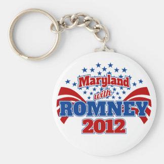 Maryland con Mitt Romney 2012 Llavero Redondo Tipo Pin