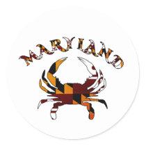 Maryland Crab Flag Classic Round Sticker