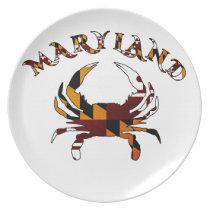 Maryland Crab Flag Melamine Plate