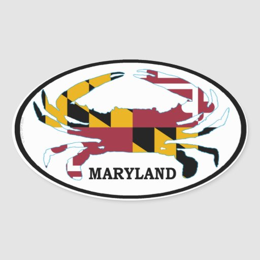 Maryland Crab Flag Oval Decal (set of 4) Oval Stickers