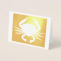Maryland Crab Metallic Silhouette Beach Seafood Foil Card