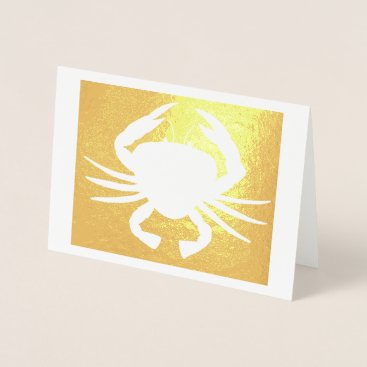 Beach Themed Maryland Crab Metallic Silhouette Beach Seafood Foil Card