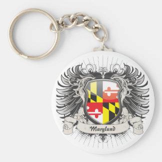 Maryland Crest Basic Round Button Keychain