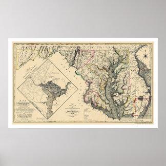 Maryland detalló el mapa 1795 póster