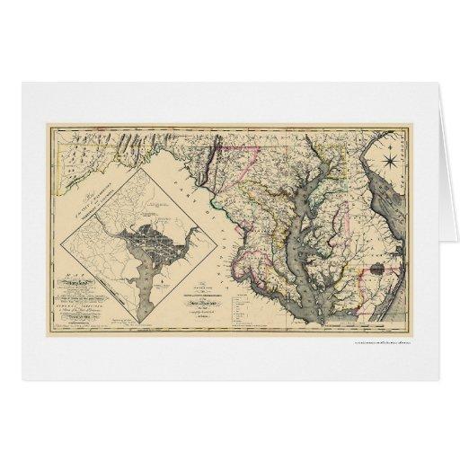 Maryland detalló el mapa 1795 tarjeta de felicitación