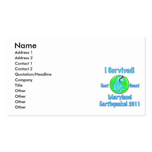 Maryland Earthquake of 2011 Double-Sided Standard Business Cards (Pack Of 100)