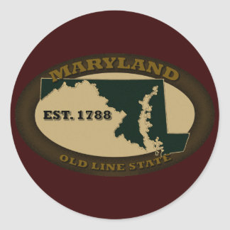 Maryland Est. 1788 Pegatina Redonda