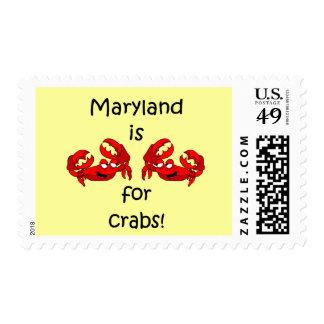 Maryland está para los cangrejos sello postal