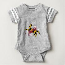 Maryland Flag Crab Baby Bodysuit