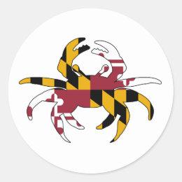Maryland Flag Crab Classic Round Sticker