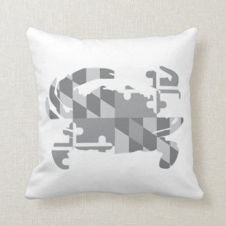 Maryland Flag/Crab greyscale pillow-*CUSTOMIZABLE* Throw Pillow