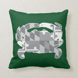 Maryland Flag/Crab greyscale pillow -forest green