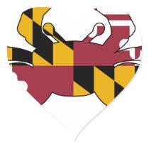Maryland Flag Crab Heart Sticker